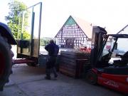 In diese Holzkisten werden die Kartoffeln bei der Ernte gefüllt